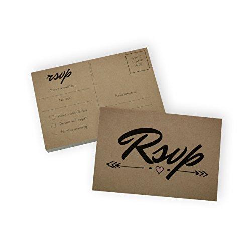 Brown Postcard (RSVP Postcard (50 Cards) 4x6 card set - Home Advantage (Kraft))