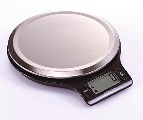 Exzact EX3211 Electronic Kitchen Scale / Food Weighing Scale / Digital Scale - Fingerprint Resistant Stainless Steel Platform - 5kg / 11lb (Black)