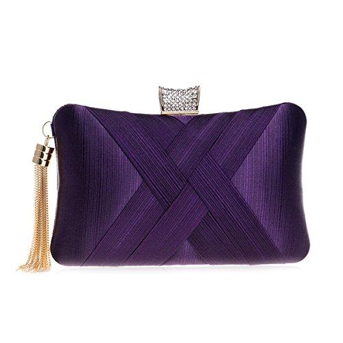 Satin Con Púrpura Bag Embragues Boda Flada Evening Para Azul Forma Bolso Borla Women Almohada wqZntCv