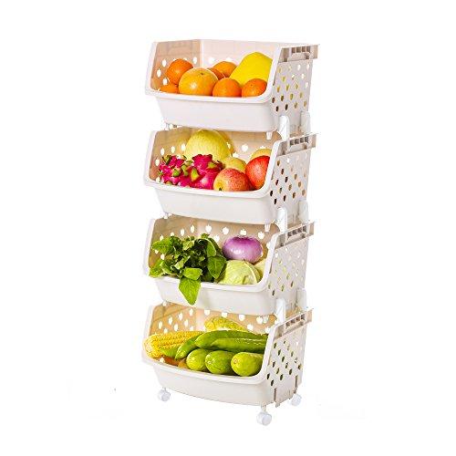Impr3.Tree Rolling Multipurpose Kitchen Storage Organizer Bins Plastic Market Fruit Basket (Beige, 4 - Tier)