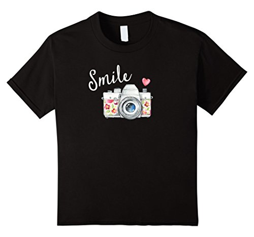 Kids Vintage Camera T Shirt, Smile Quote Flower Design for Girls 4 - Illustration Camera Lens