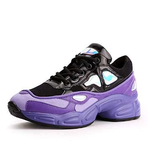 Tela Clunky Deporte Transpirable Malla Cordones Primavera Zapatilla Sólido Zapatos Otoño Mujeres Con De Casual Retro Altura Decoración Púrpura Metal vqp5xgf