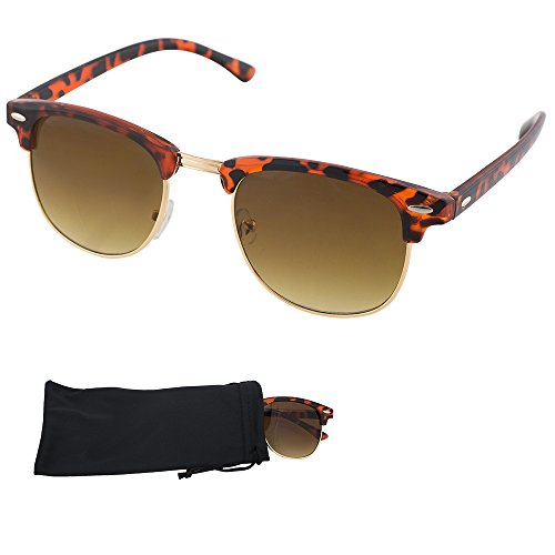 Clubmaster Sunglasses - Tortoise Shell Plastic & Metal Frames With Brown Gradient Lenses - UV Ray Protected Shades For Men & Women - By Optix - Shell Tortoise Clubmaster Sunglasses