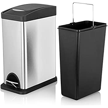 Fortune Candy Small Slim Rectangular Step Trash Can,Stainless Steel Trash  Can With Lid U0026