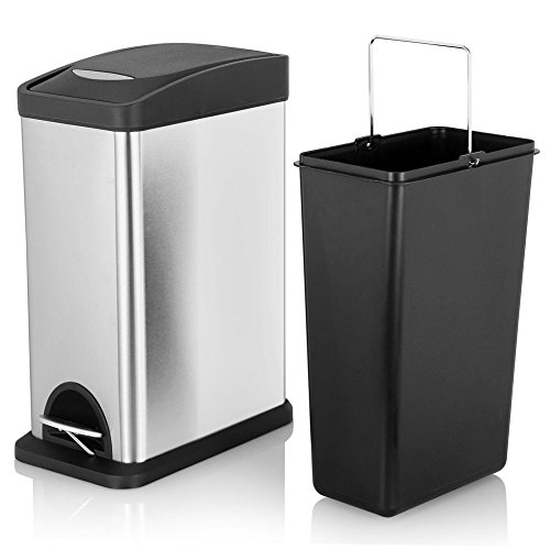 Closed Stainless Steel - Fortune Candy Slim Rectangular Step Trash Can,Small Stainless Steel Trash Can with Lid & Removable Inner Wastebasket for Bathroom Bedroom Office,2.1Gal/8L