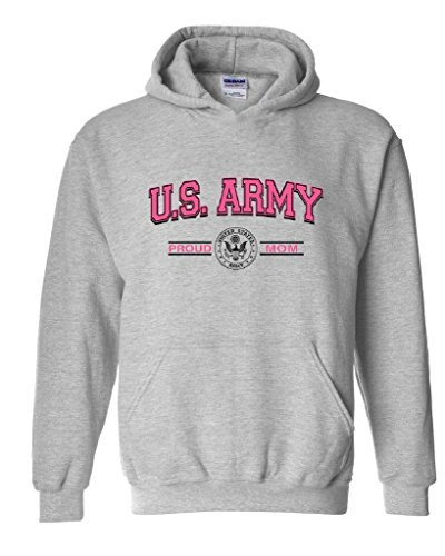 Artix US Army Proud Mom Pink US Army Men Army Wives Fashion Unisex Hoodie Sweatshirt X-Large Sport Grey