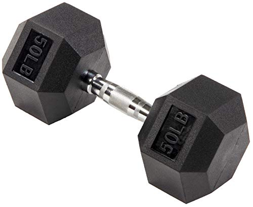 BalanceFrom Rubber Encased Hex Dumbbell in Pairs, Singles or Set with Rack, 50LB Single