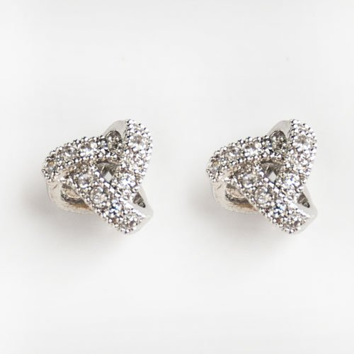 Rarelove White Crystal CZ Small Overlapping Circles Silver Plated Stud earrings