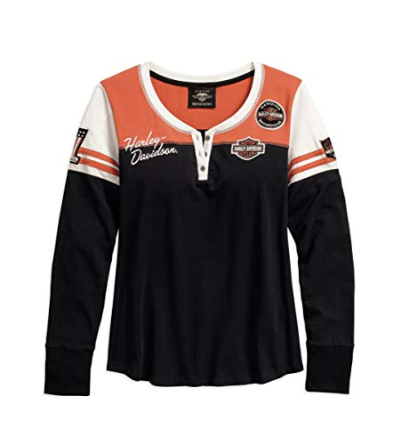 Harley-Davidson Official Women's Classic Colorblock Henley, Black (X-Small) ()