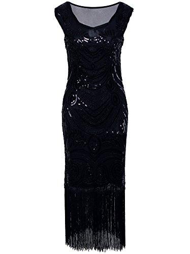 - Vijiv Long Prom Vintage Fringe Sequin Art Nouveau Deco Flapper 1920s Dress
