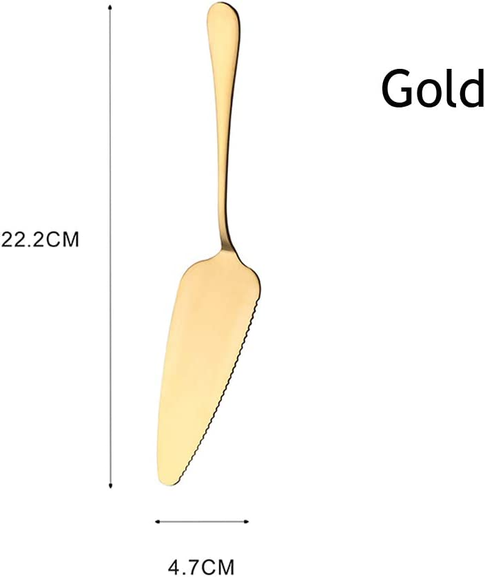Tortenheber aus Edelstahl mit Wellenschliff gold