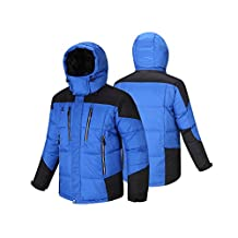 Fuerza Mens Winter Down Wellon Hooded Dynamic Parka Jacket - Blue