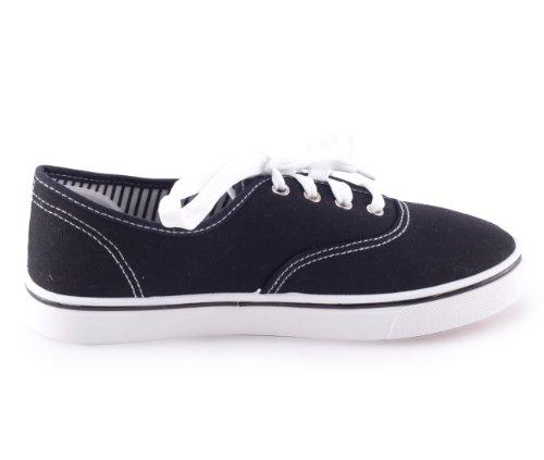 Mixmatch24 - Zapatos de cordones de lona para mujer negro - negro