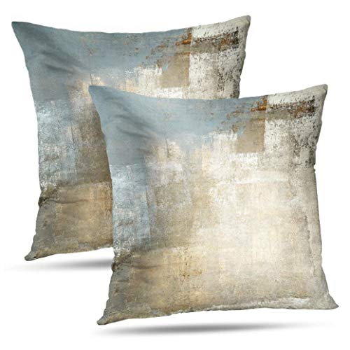 Alricc Grey and Beige Abstract Art Contemporary Pillow Cover, Modern Neutral Decorative Throw Pillows Cushion Cover for Bedroom Sofa Living Room 18X18 Inches Set of 2 (Beige Sofa Brown And)