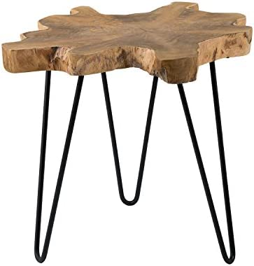 EAST at MAIN Lovilla Brown Round Teakwood Accent End Table
