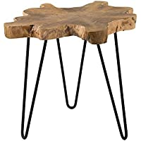 East at Main Lovilla Brown Round Teakwood Accent End Table, (23x20x20)