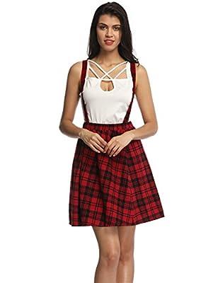 Fancyqube Women's Elastic Waist Mini Suspender Skirt Plaid A Line Skirt