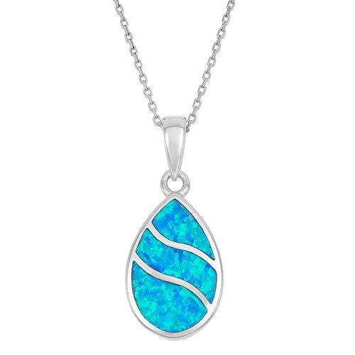 Beaux Bijoux 925 Sterling Silver Created Blue Opal Teardrop Pendant with 18