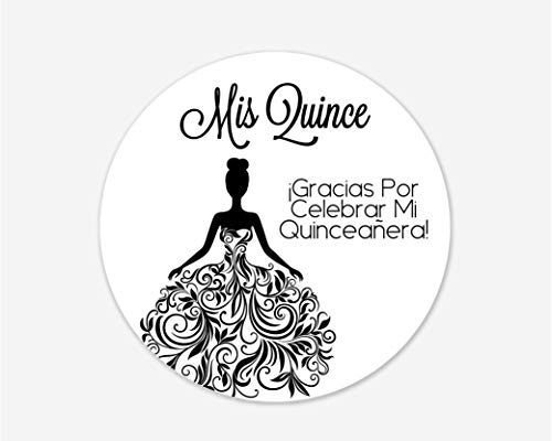 Quinceanera Stickers, Mis Quince, Spanish or English Stickers for 15th Birthday (#027-S-BK)]()