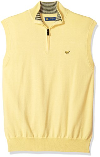 Jack Nicklaus Men's Textured Solid Sleeveless 1/4-Zip Sweater Vest, Popcorn, S by Jack Nicklaus