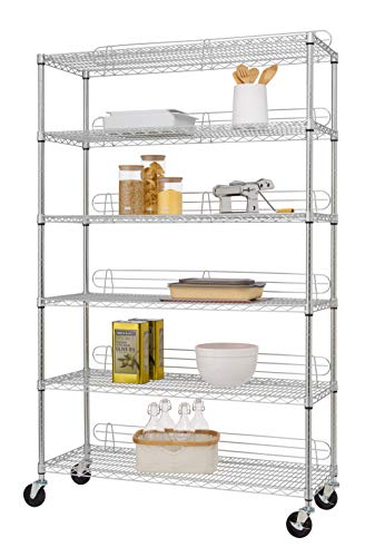 TRINITY EcoStorage 6-Tier NSF Wire Shelving Rack with Wheels, 48 by 18 by 72-Inch, Chrome (Off Roll Levelers)