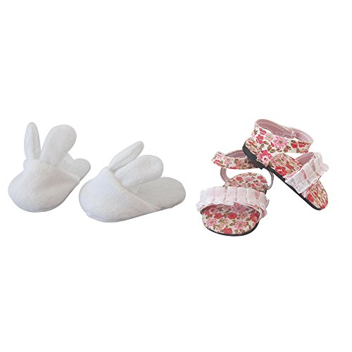 18 Inch Doll Shoes Baby Girl Toy Set, 2 Pairs of Baby Girls Doll Shoes for 18 inch American Girl Doll ,included 1 Pair of Easter White Bunny Slippers & 1 Pair of Floral Sandals
