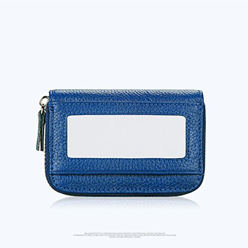 Hibate RFID Block Genuine Leather Credit Card Cases Holder Travel Wallets - Blue