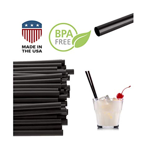 "Jumbo Black Drinking Cocktail Straws: Made in USA, BPA Free: (5.75"" x 0.24"")   250ct"