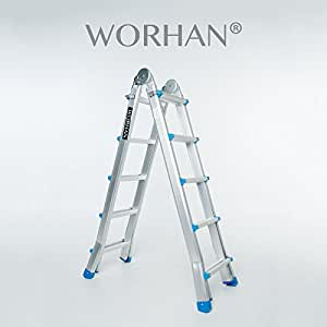 Worhan escalera 530cm aluminio telescopica for Escaleras aluminio amazon