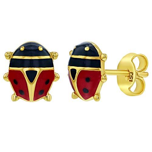 Childrens Enamel Ladybug - 925 Sterling Silver Red Enamel Ladybug Earrings Stud Earrings Girls Children