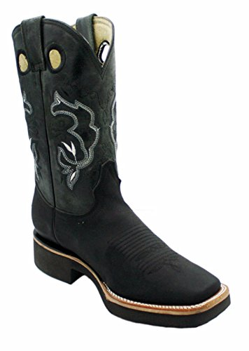 Men Cowboy Genuine Cowhide Leather Square Toe Rodeo Western Boots_Tan_Black_9.5