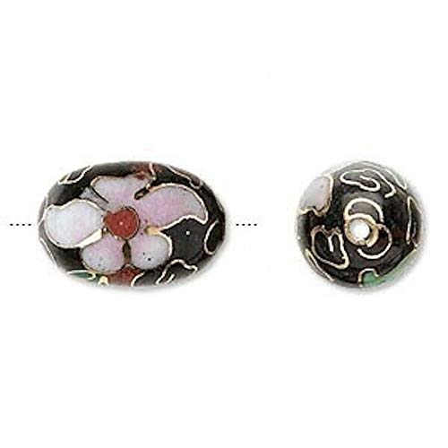 4 Gold Plated Black Pink 18X12Mm Oval Cloisonne Beads