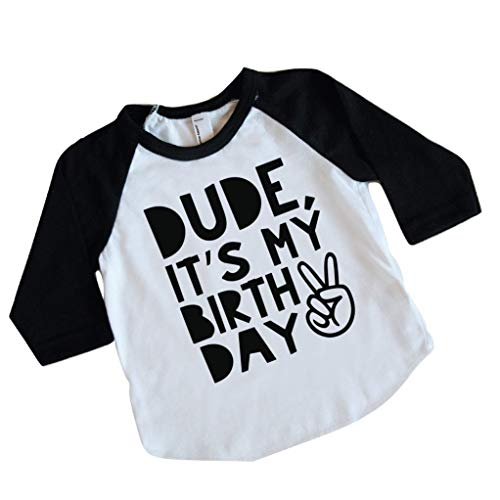 Boy Second Birthday Shirt, Kids Dude It's My Birthday Shirt (2T) Black (Birthday Sleeve 3/4)