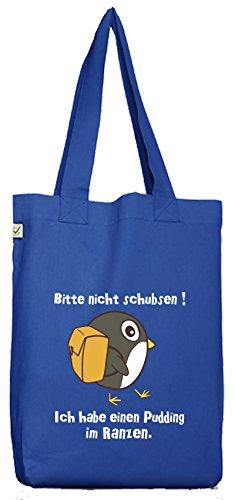 ShirtStreet Bio Baumwoll Jutebeutel Stoffbeutel Pinguin - Bitte nicht schubsen Bright Blue