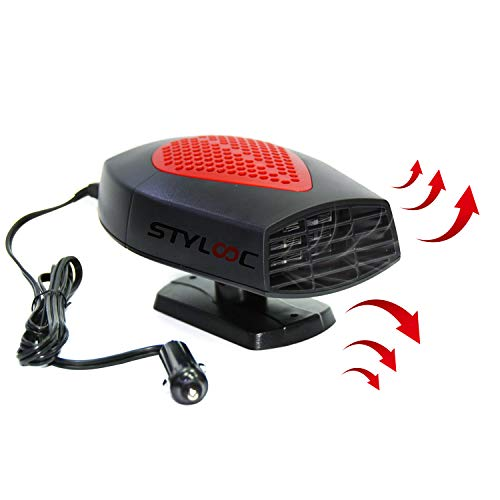 Portable Car Heater, STYLOOC 60 Seconds Fast Heating Defrost Defogger Demister Vehicle Heat Cooling Fan 12V 150W Auto Ceramic Heater 3-Outlet Plug In Cigarette Lighter(Red)
