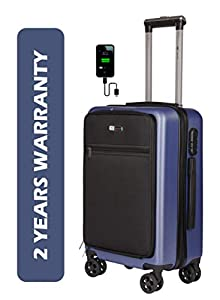 3G Smart Series SMT-9 Hard and Soft Suit Cabin Size Smart Suitcase Trolley Bag with USB Cahrging Port 20 inch Blue