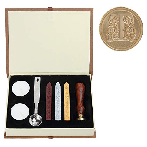 Seal Wax Kit,PUQU Vintage Initial Letters A-Z Alphabet Wax Badge Seal Stamp Kit Wax Set Tool Gift(T) ()