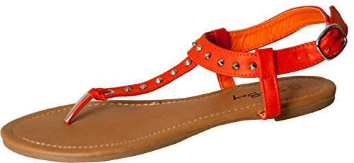 Womens Roman Gladiator Spike Studded T Strap Sandals Flats Shoes