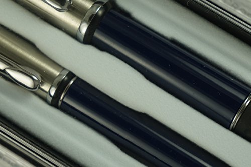 Made in Italy Yafa Brass and Midnight Blue Barrel Scenario Fountain and Selectip Ballpoint Pen Set . A Great Gift