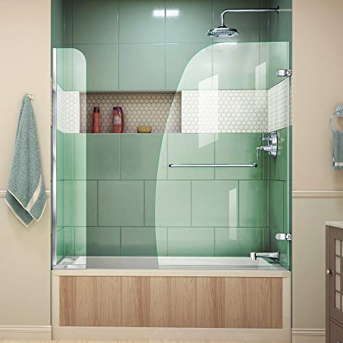 DreamLine Aqua Uno 56-60 in. W x 58 in. H Frameless Hinged Tub Door with Extender Panel in Chrome, SHDR-3534586-EX-01