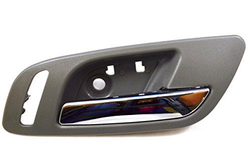Gm Chrome Doors (PT Auto Warehouse GM-2546MG-FR - Inside Interior Inner Door Handle, Gray (Titanium) Housing with Chrome Lever - with Heated Seat Hole, Passenger Side Front)