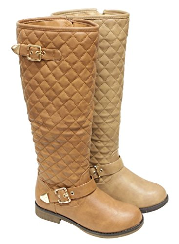 Top Moda Dish-2 Women's round toe side zipper quilted shaft golden buckled straps decor knee high PU boots