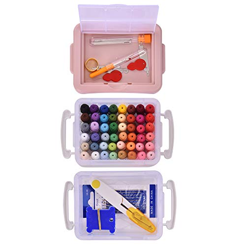 Embroidery Threads, Colourful Embroidery Threads Set Embroidery Floss with DMC Number, Embroidery Set with Organizer Storage Box for Embroidery, Cross-Stitch, Friendship Bracelets
