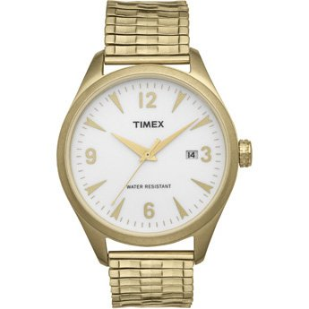 Timex Unisex Originals Vintage Heritage Series White Dial Gold Tone Expandable Band Watch T2N530