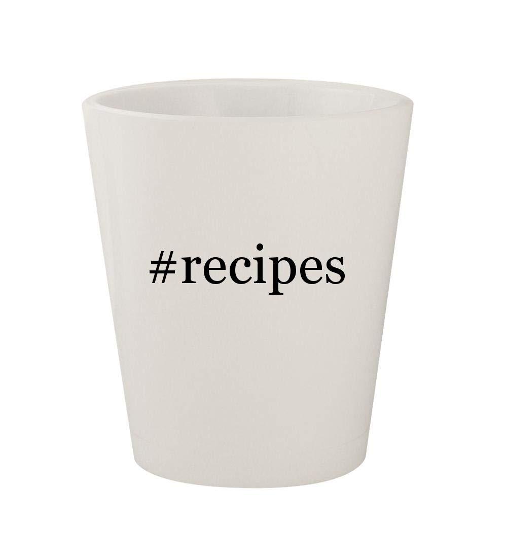 #recipes - Ceramic White Hashtag 1.5oz Shot Glass