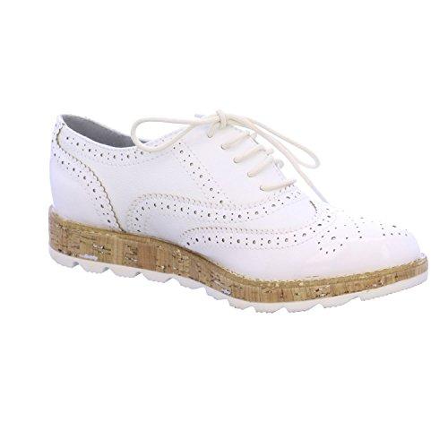 s.Oliver Damenschuhe 5-5-23616-28 Modischer Damen Freizeitschuh, Sneaker, Schnürhalbschuh in Brogue Optik Weiß