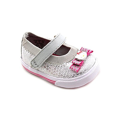 Keds Baby Charmmy Crib Ballet Flats, Silver Canvas, Size 0 M US (Keds Canvas Mary Janes)