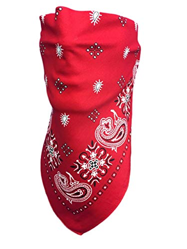 My Skull Store Red Paisley VELCRO®Brand Adjustable Close Bandanna Face Cover Reversible ChopTop, DoRag, Dust, Bug Mask, Sun Protection, Motorcycle Headwrap ATV Rider Hand Made -