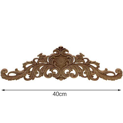 Xigeapg Carving Natural Wood Appliques for Furniture Cabinet Unpainted Wooden Mouldings Decal Vintage Home Decor Decorative 40x11x2Cm
