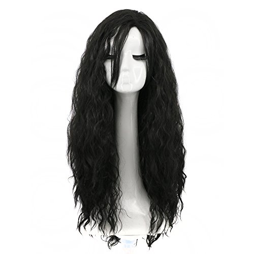 Yuehong Women Girl's Long Curly Black Movie Halloween Cosplay Wig Party Wigs -